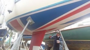 Shoestring's owner used up all his old tins of antifouling paint with a Union Jack antifouling pattern!