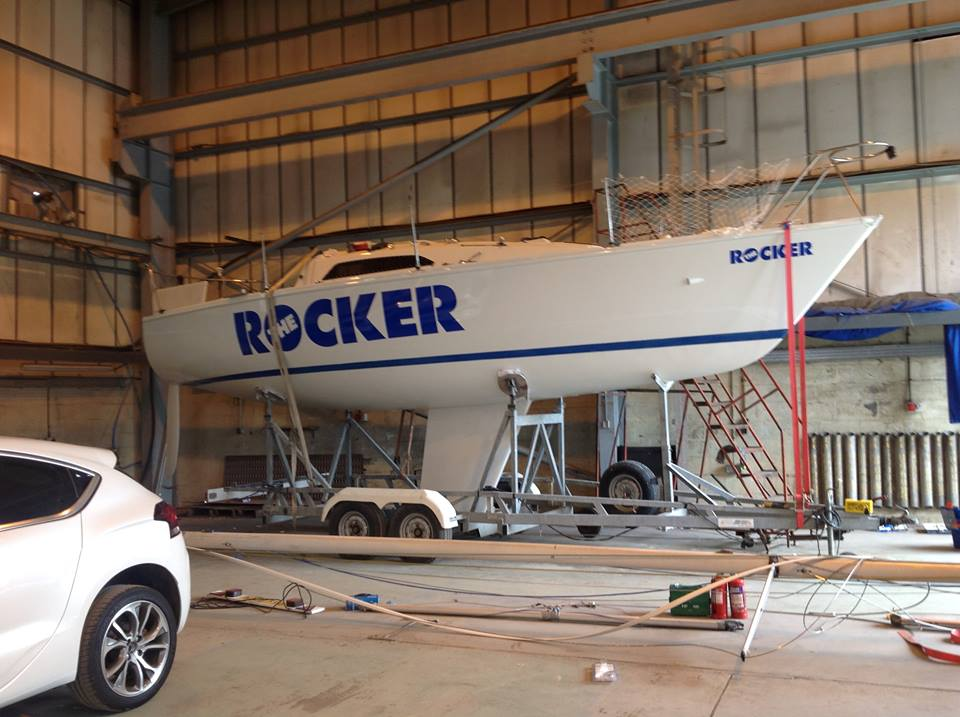 with two days to go before the nationals, another boat emerges gleaming from the paint shed and hits the road en route to Cowes - looking good!